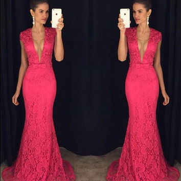 Hot Pink Lace Prom Dress,See Through Back Prom Dresses,Evening Dresses
