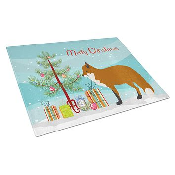 Red Fox Christmas Glass Cutting Board Large BB9243LCB
