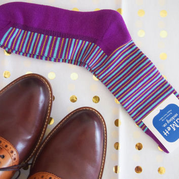 Magenta striped men's dress sock, groomsmen sock, wedding sock,men's fun sock, purple dress sock, striped sock, cool dress sock,wedding gift