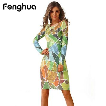 Fenghua Fashion Spring Summer Dress Women 2018 Casual Long Sleeve High Elastic Floral Bodycon Dress Sexy Party Dress vestidos