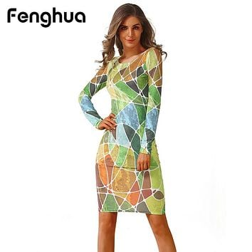 Fenghua Fashion Spring Summer Dress Women  Casual Long Sleeve High Elastic Floral Bodycon Dress Sexy Party Dress vestidos