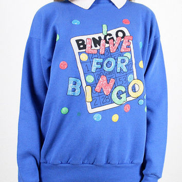 Vintage Cobalt Blue Sweatshirt BINGO Print Jumper Novelty Print Sweater Collared Slouch Fit Rainbow New Wave Ugly Bright M Medium L Large