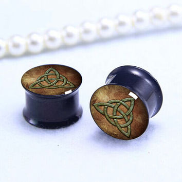 Pairs Customer logo  ear Plug  , Black Titanium ear plugs ,0g,00g ,1/2, 9/16, 5/8, 3/4, 7/8,women/men  ear plugs