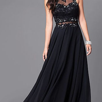 Long Jeweled Formal Gown with Illusion-Lace Bodice