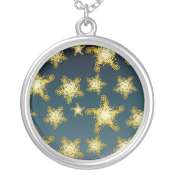 Starry Night pattern Silver Plated Necklace