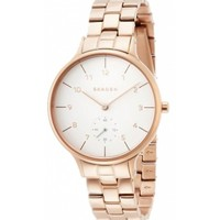 Skagen Womens Rose Gold Stainless Steel Case White Dial Rose Gold Bracelet Round Watch