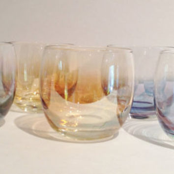 Mod Mid Century Lustreware Glass Lowball or Water Glasses Set of 6