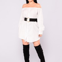 Give You The World Off Shoulder Dress - White/Black