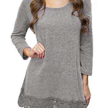 POZON Women Bohemian Flare Sleeve Lace Splice Loose Tunic Dress (S, Grey)