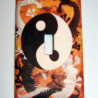Light Switch Cover - Light Switch  Plate  Yin Yang Dragons