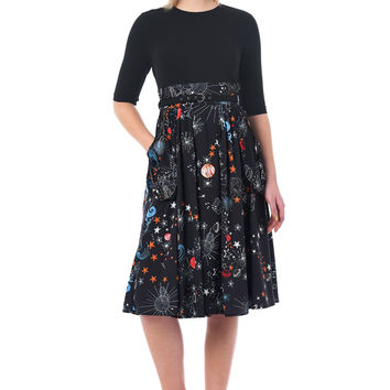 Constellation print mixed media belted dress