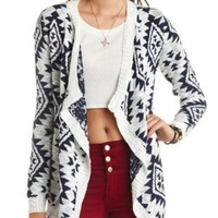 Slub Aztec Cascade Cardigan Sweater by Charlotte Russe - Ivory Combo