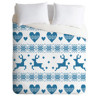 Natt Knitting Blue Deer With Hearts Duvet Cover