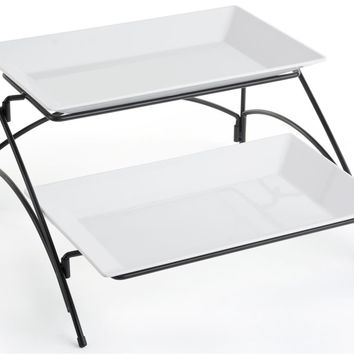2 Tier Wire Serving Platter with (2) Melamine Trays - Black and White 19677