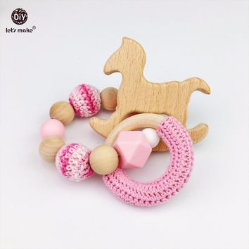 Let's Make Baby Infant Wooden Teether Beech Horse Wood Teething Montessori Toys Baby Rattle DIY Chewable Crochet Beads Bracelets