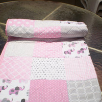 Modern Baby Quilt,baby girl bedding,Baby girl quilt,elephant baby quilt,grey,pink,patchwork crib quilt,chevron,rustic,woodland,Pink Ellie