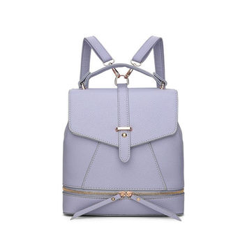 Versatile Leather Backpack - Violet