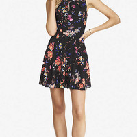 PLEATED KEYHOLE FIT AND FLARE DRESS - FLORAL from EXPRESS