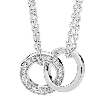 Ellani Sterling Silver Dble Chain Necklace with Linked Circles 1x White Cubic Zirconia - P597