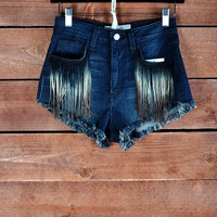 FRINGE DENIM SHORTS | Paper Kranes