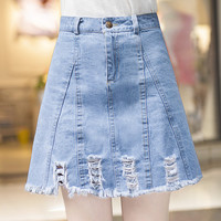 Fashion 2016 Summer Women Blue Denim Skirt Hole Ripped A-Line Jeans Skirts Casual Female Mini Skirt saias feminina faldas jupe