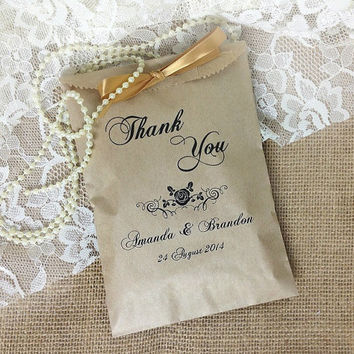 Personalized 20 victorian style wedding favor bag, brown kraft paper bag, wedding gift bags