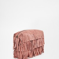 ASOS Suede Fringe Clutch Bag at asos.com