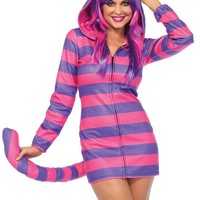 Elegant Women's Fleece Mini Dress Cheshire Cat Halloween Costume