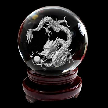 IFOLAINA 3D Subsurface Laser Engraving Chinese 12 Zodiac Signs Dragon Crystal Glass Ball with Wooden Stand 80mm