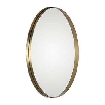 Pursley Contemporary Brass Oval Framed Wall Mirror by Uttermost