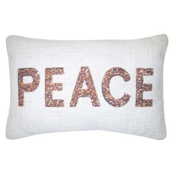 "Copper Sequin Peace Decorative Pillow 12""x18"" -T... : Target"