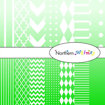 Digital Scrapbooking Paper Set – Ombre Green and White in stripes, chevron, polka dot, stripe, harlequin, and quatrefoil  INSTANT DOWNLOAD