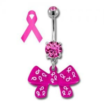 Breast Cancer Awareness Pink Ribbon Bow Belly Ring
