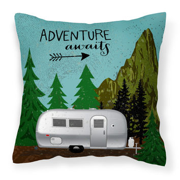 Airstream Camper Adventure Awaits Fabric Decorative Pillow VHA3022PW1818