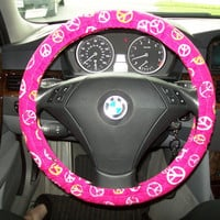 Fuchsia With Peace Signs Steering Wheel Cover