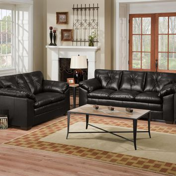 Simmons 6569 Black Sebring Sofa and Loveseat