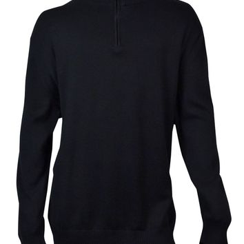 John Ashford Men's Solid Quarter-Zip Sweater (Deep Black, 4XB)