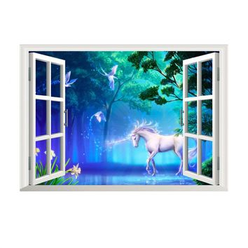 Fake 3D Window Forest Wall Stickers Art Decals