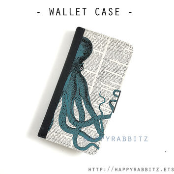 Teal Octopus iphone 5 wallet case , leather iphone 5c wallet case , iphone 5s case , iphone 5 case , iphone 5c case cover