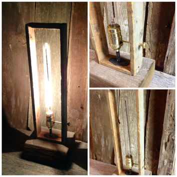 "Tall Barnwood Edison table lamp with integrated key switch - 6"" deep x7"" wide x20"" tall"