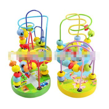Mini Wire Maze children's toys baby doll kids Educational toys beads string beads game around animal chassis 4 styles by random