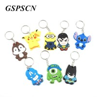 GSPSCN Fashion rubber Cartoon Characters Avengers Car Keychain Cute Key Chain Key Ring Keyring Bag Charm Car Key Holder