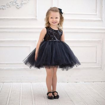 Princess Tulle Sequins Girls Dress Summer Tutu Birthday Party Dance Dresses For Girls Children's Costume Teenager Prom Designs