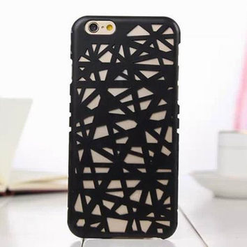 Black Candy Color Hollow Out Bird's Nest Phone Back Cover Case Shell For iPhone 4s 5 5s SE 6 6s