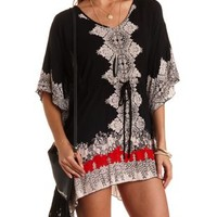 Black Combo Kimono Sleeve Boho Print Shift Dress by Charlotte Russe