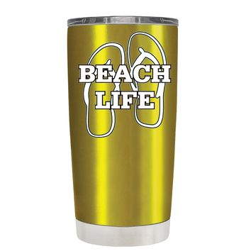 The Beach Life Sandals on Translucent Gold 20 oz Tumbler Cup