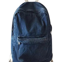 Dark Blue Pocket Front Denim Backpack