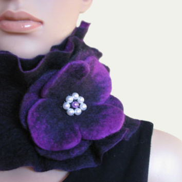 Handmade Felted Scarf collar neck warmer Purple and by ProninA