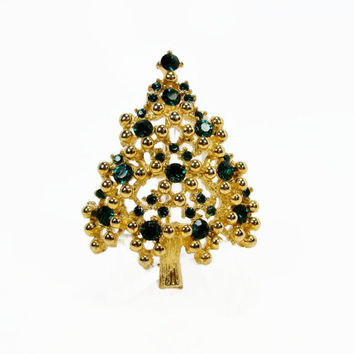 EISENBERG Christmas Tree Brooch, Green Rhinestone, Vintage Brooch, Christmas Pin, Vintage Jewelry, Eisenberg Jewelry, Christmas Jewelry