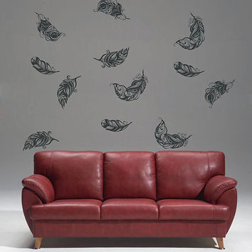 kik1640 Wall Decal Sticker fall feathers circling living children's bedroom